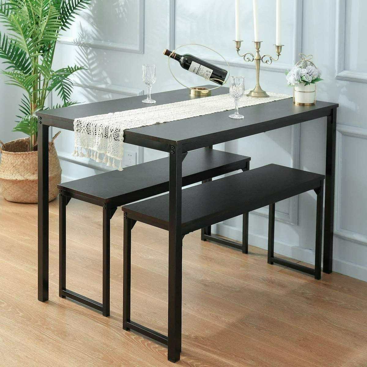 3 piece dining table set 2 benches