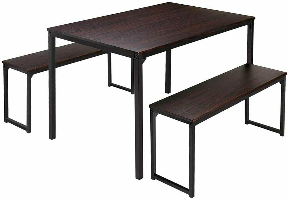 3 Set Benches Wood Look Kitchen Room