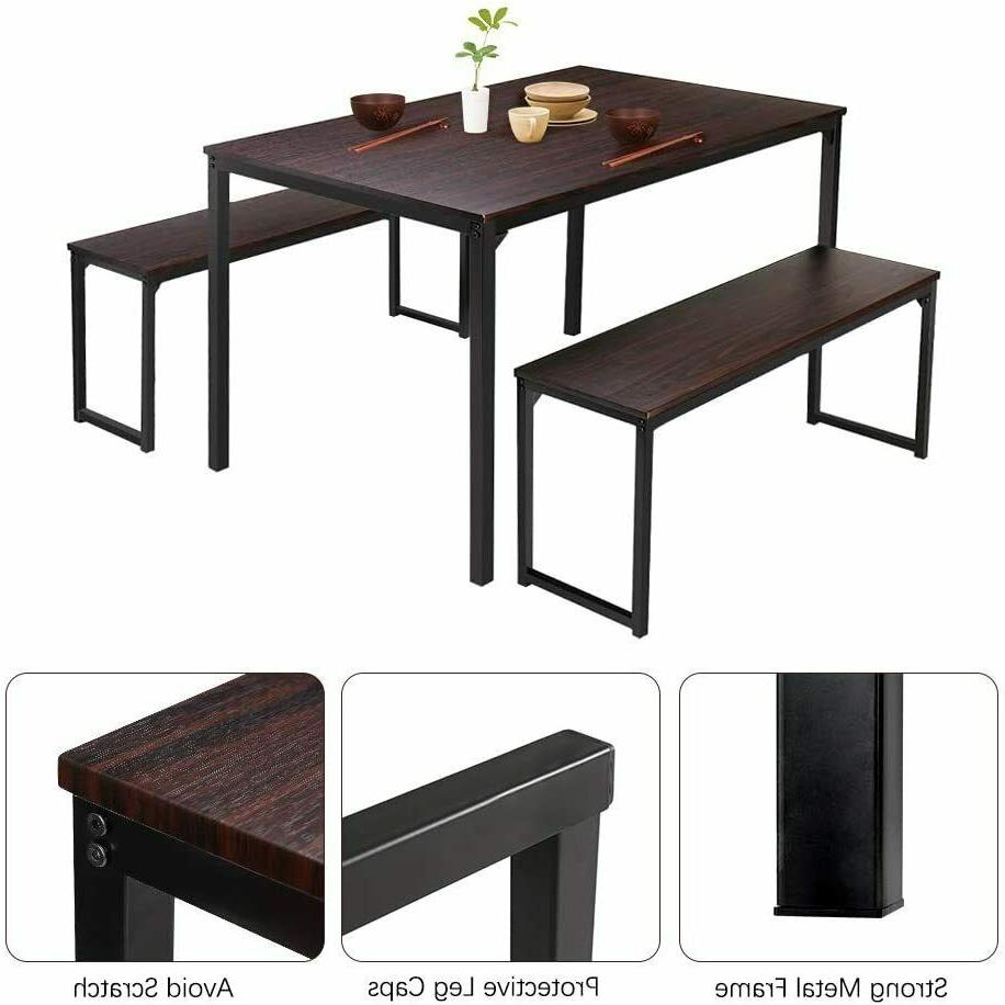 3 Dining Table Set 2 Kitchen Room Brown