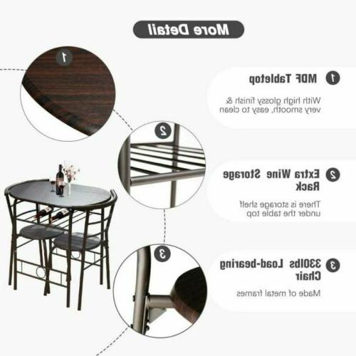 3 Dining Set Table Chairs Home Candlelight Dinner