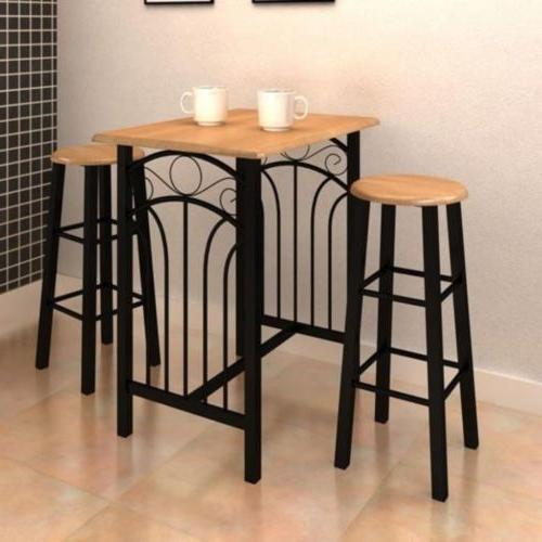 3 Piece Dining Table Set Chairs Furniture MDF