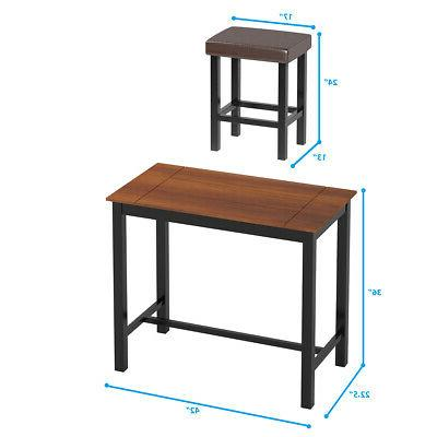 3 Piece Pub Set Height Kitchen Dinner Dining Home w/Stools