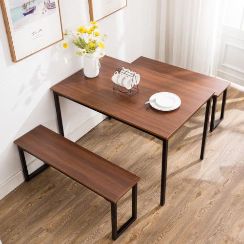 3 Piece Wooden Table Set Chair