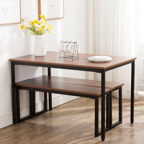 3 piece wooden dining table set