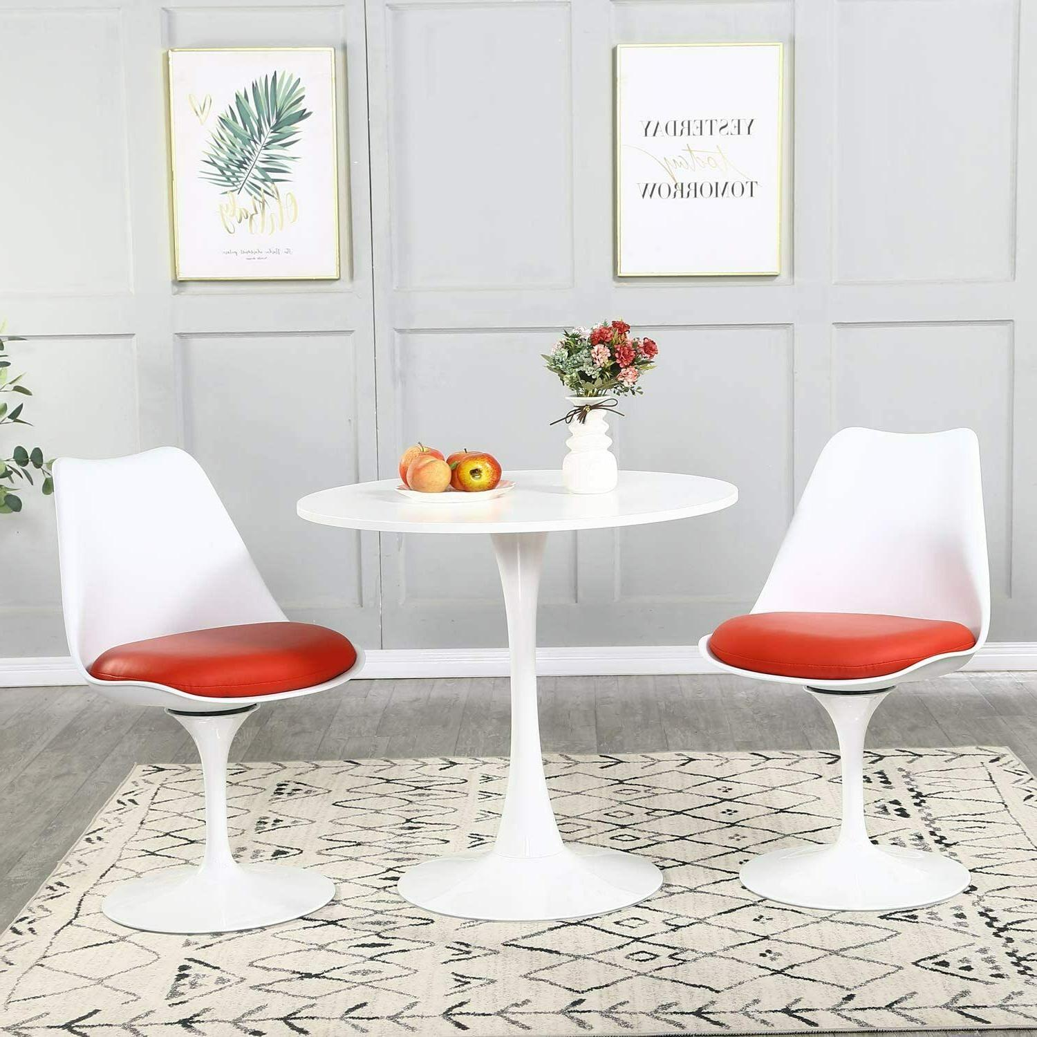 """31.5"""" White Round Dining Side Chairs Mid Style"""
