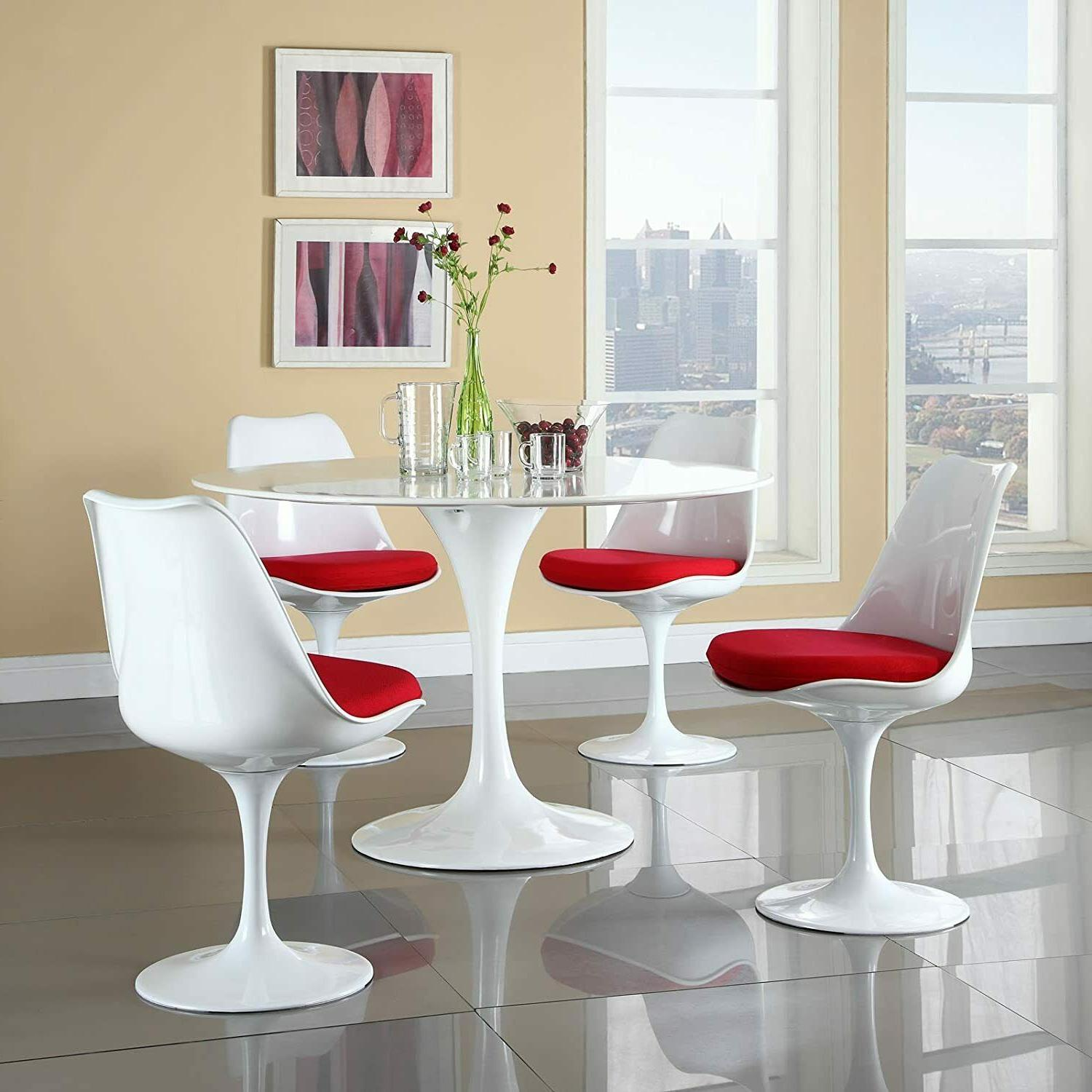 """31.5"""" White Tulip Dining Chairs Set Mid Style"""