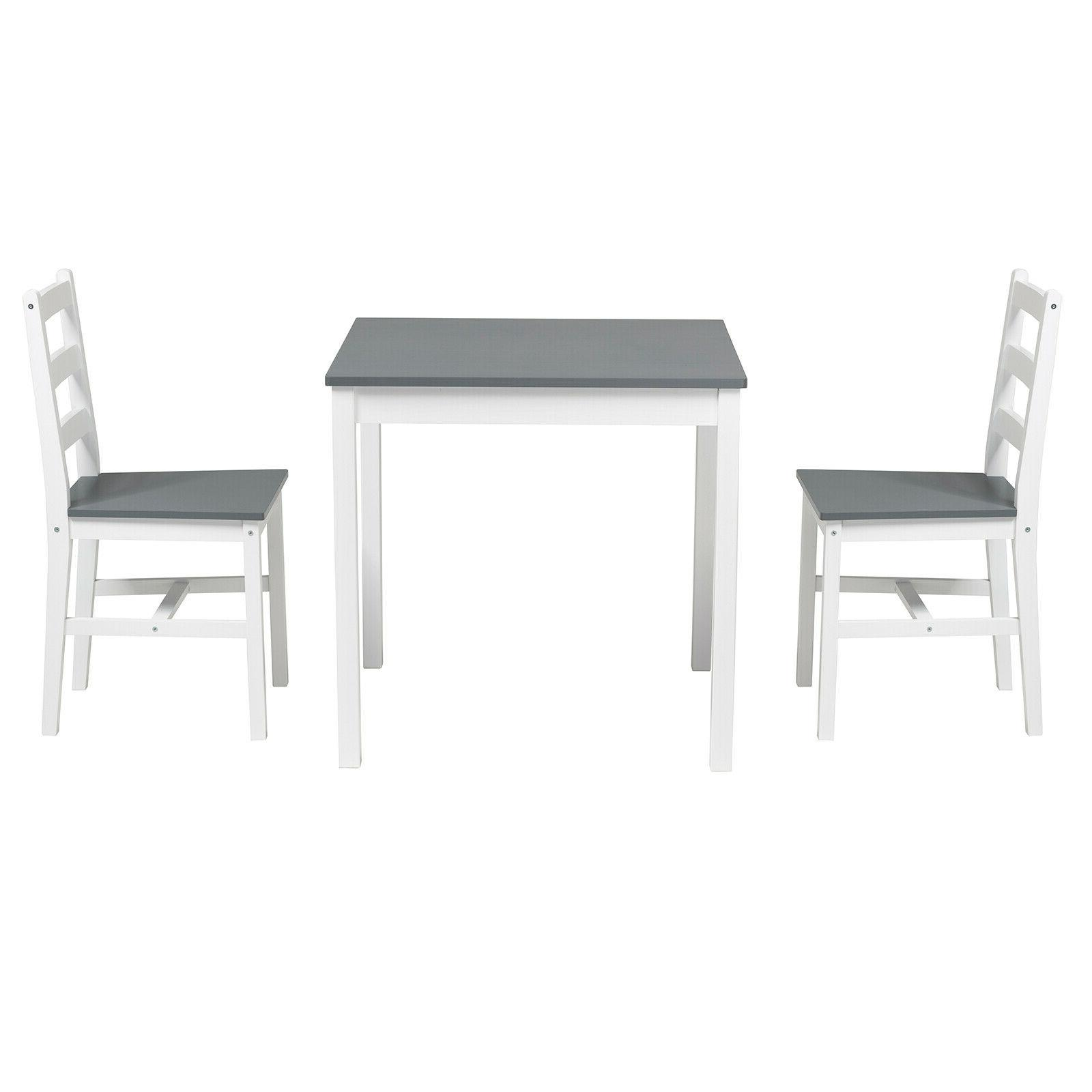 3PCS Dining Table 2 Dining Room Furniture Wood Grey