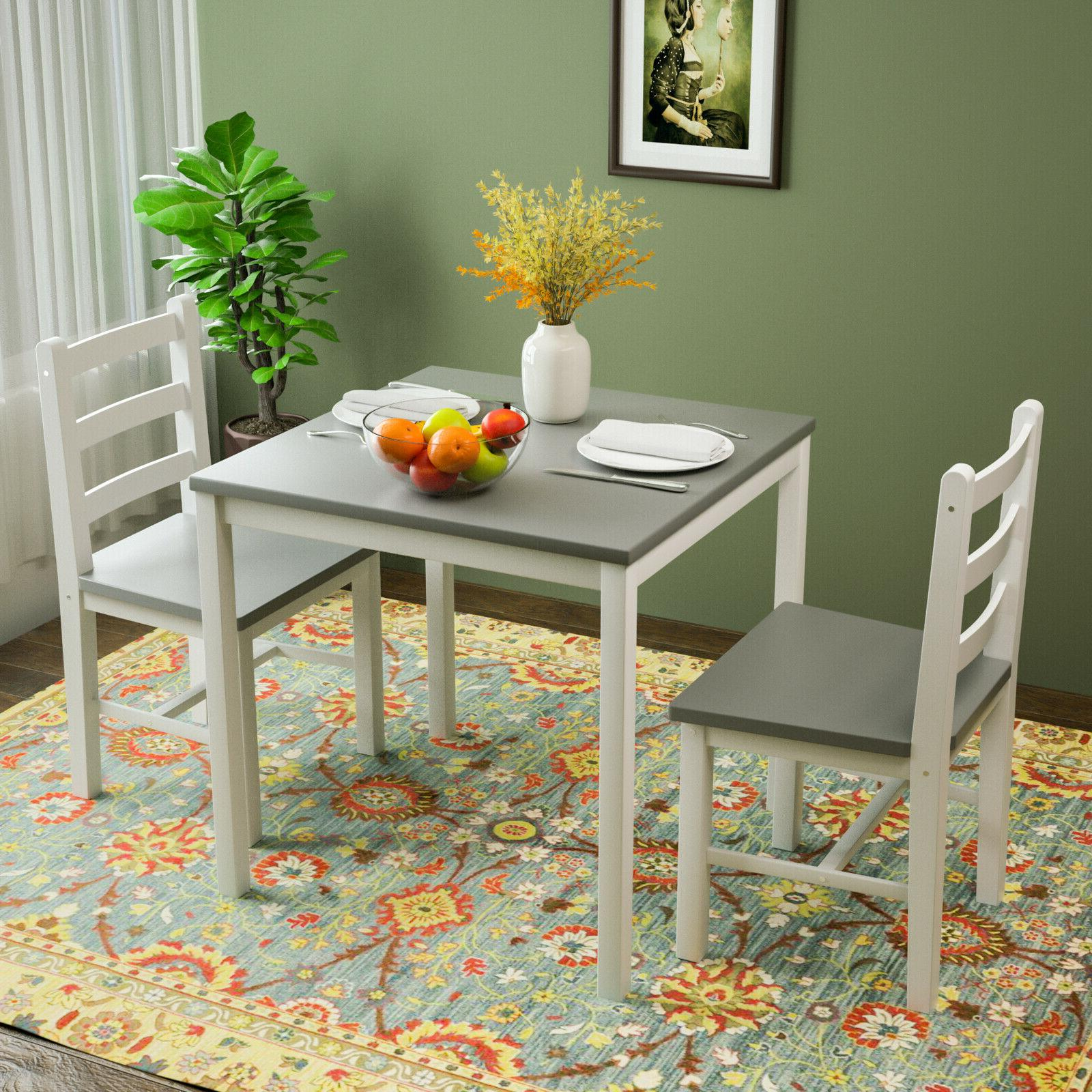 3pcs dining table set 2 chairs kitchen