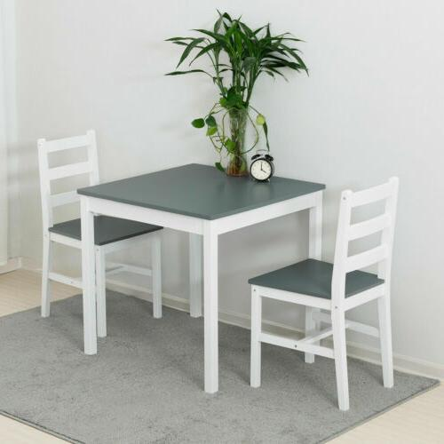 3pcs Sets with Chair Kitchen Dining Furniture Pine Wood