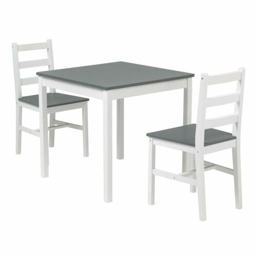 with 2 Chair Dining Room Wood Grey