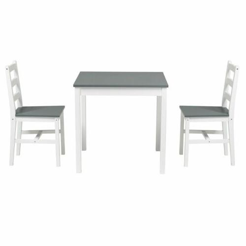 3pcs Dining Table Sets with Dining Room Wood Grey
