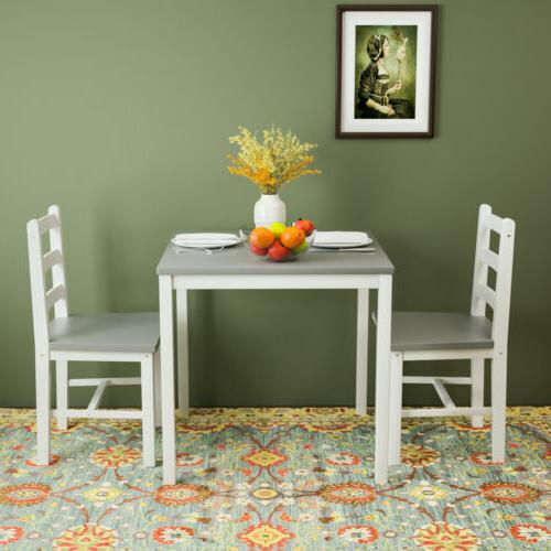 3pcs with 2 Chair Dining Pine Wood Grey