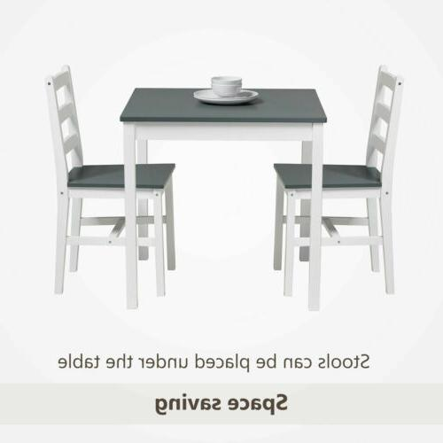 3pcs Table Sets with Chair Kitchen Dining Wood Grey