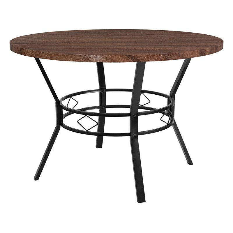 45'' Round Dining Table in Coffee Wood Finish - Accent Table