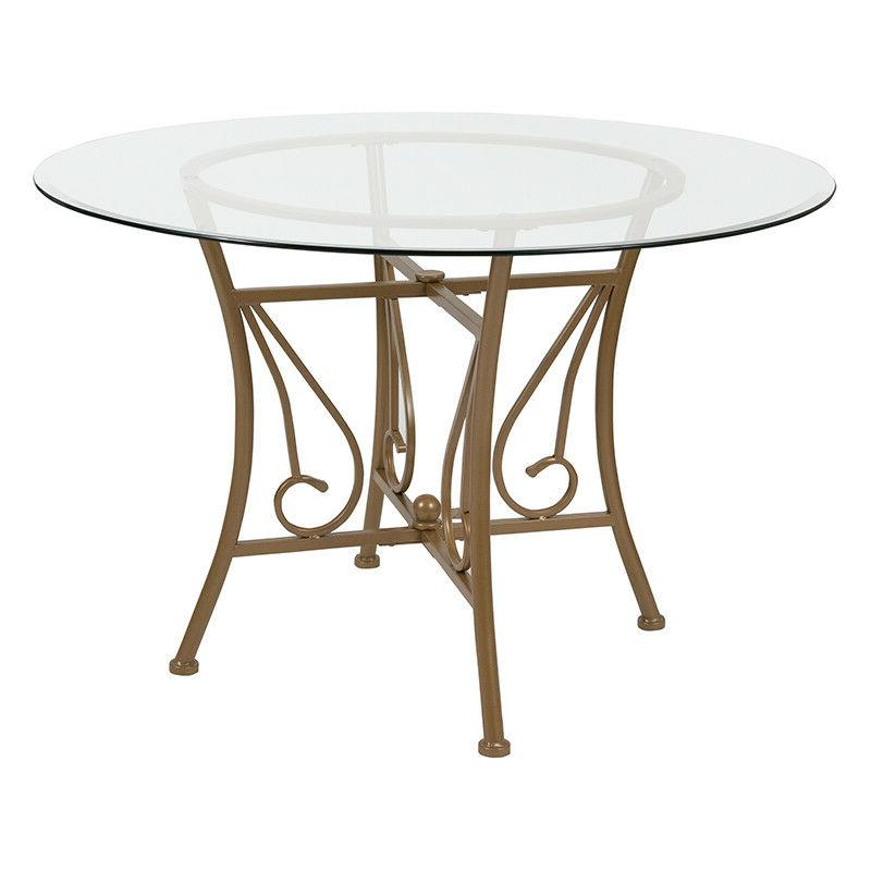 45'' Round Glass Dining Table with Matte Gold Metal Frame -