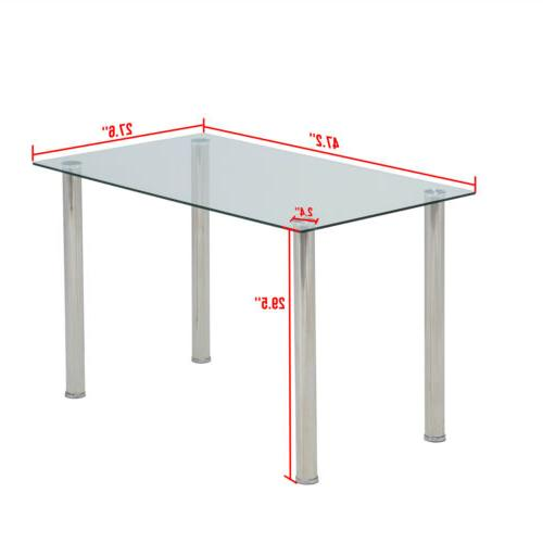 "48""x28""Glass Dining w/Metal Legs Kitchen"