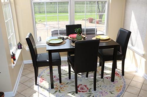 5 Black 4 Person Table and Chairs -