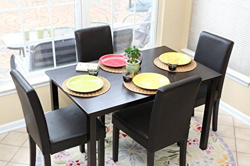 5 PC Black Leather 4 Person Table and Chairs Brown Dining Di
