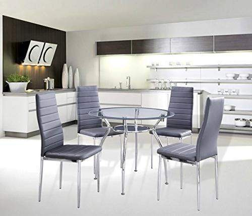 5-Piece Home Dining Kitchen Furniture Set, Metal Frame Table
