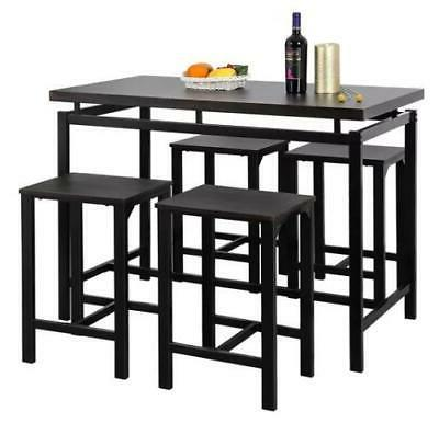 5 Piece Set Pub Table Bar Stools Dining Furniture Counter He