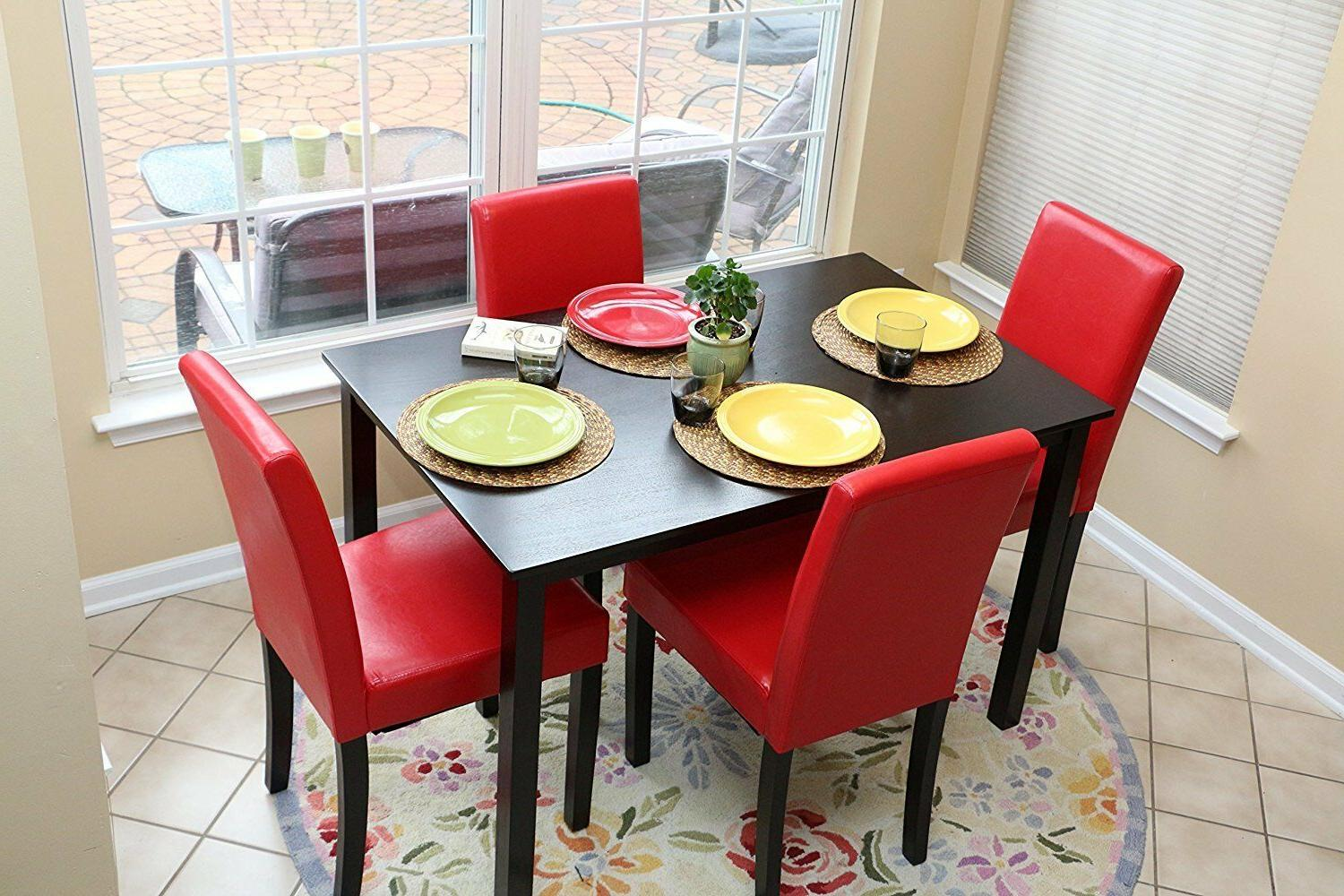 Home Red Person Table Chairs Dining Parson