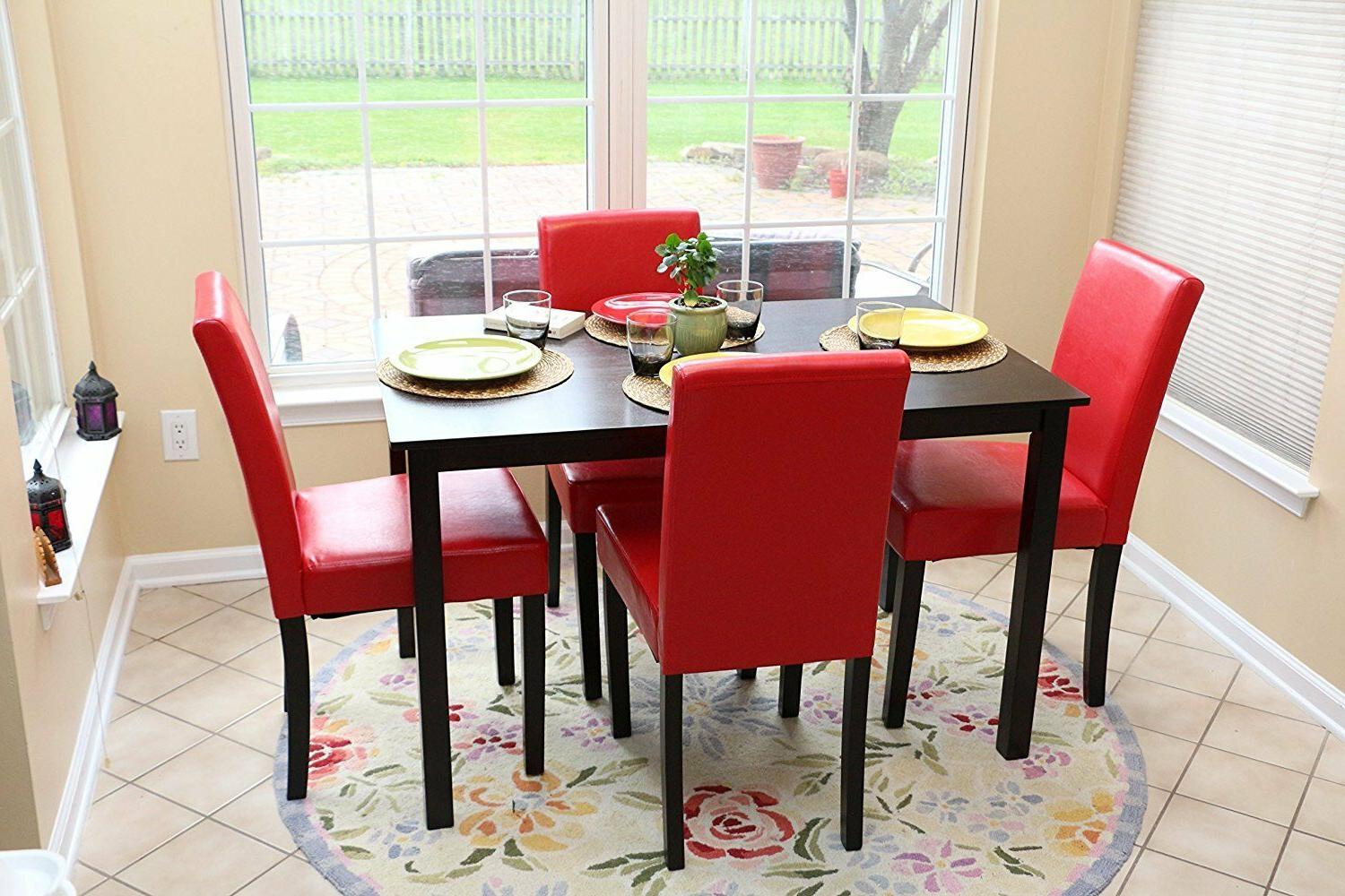 Home Life 5 PC Red Leather 4 Person Table and Chairs Red Din