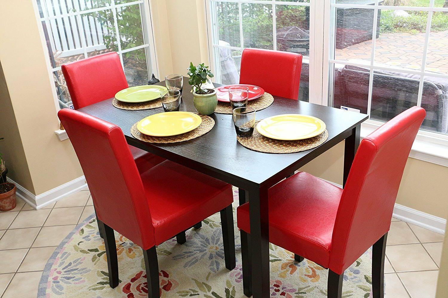 Home Life 5 Red 4 Table Red Dining