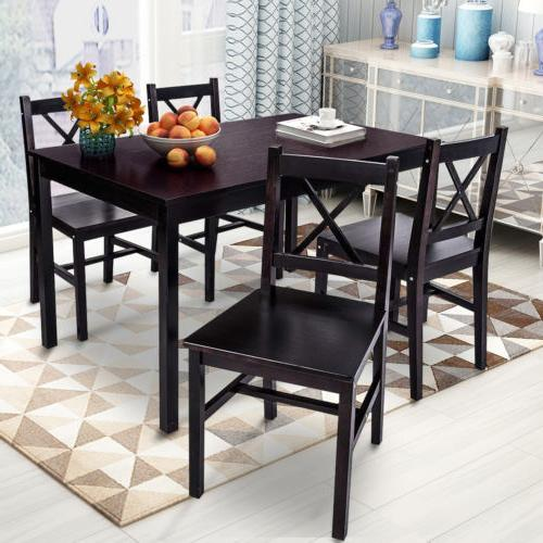 5 Solid Wood Dining Set 4 Person Table and Furniture