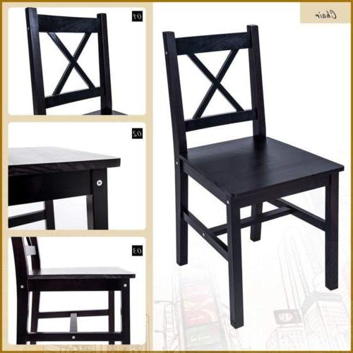 5 PC Solid Dining Set Table and Chairs Furniture