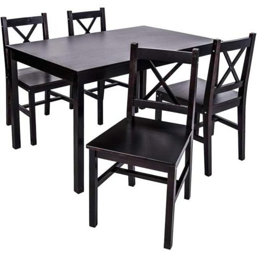 5 Solid Dining Set Table Chairs Dining Furniture