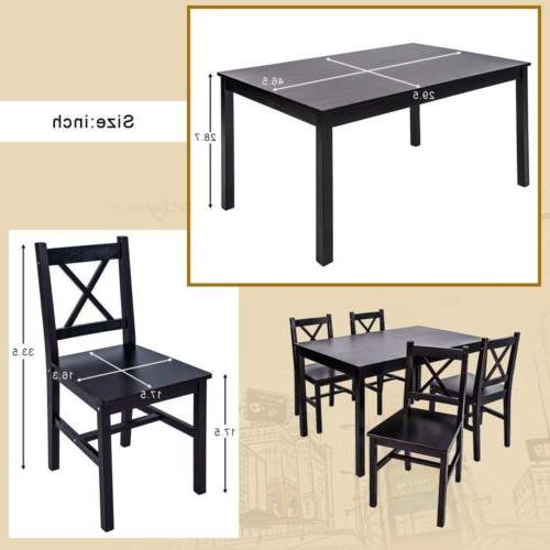 5 Dining 4 Person Table Chairs Furniture