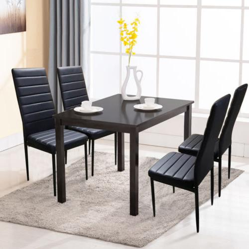 5 PCS Black Dining Table and 4 Chairs Set Dining Room Breakf