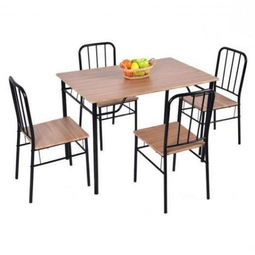 5 Pcs Dining Room Set Wooden Table With 4 Chairs Modern Kitc