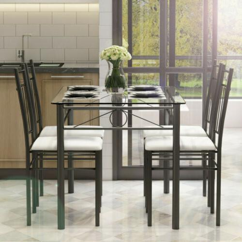 5 pcs Dining Set Glass Metal Table and 4 Chairs Kitchen Livi