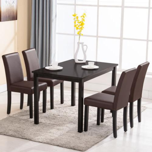 5 PCS Dining Table Set with 4 Chairs Brown Wood Kitchen Dini