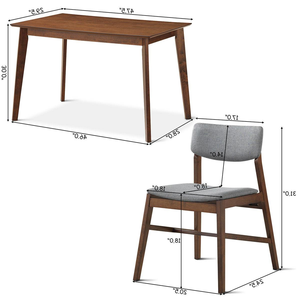 5 Mid Modern Dining Kitchen Table & 4 Upholstered