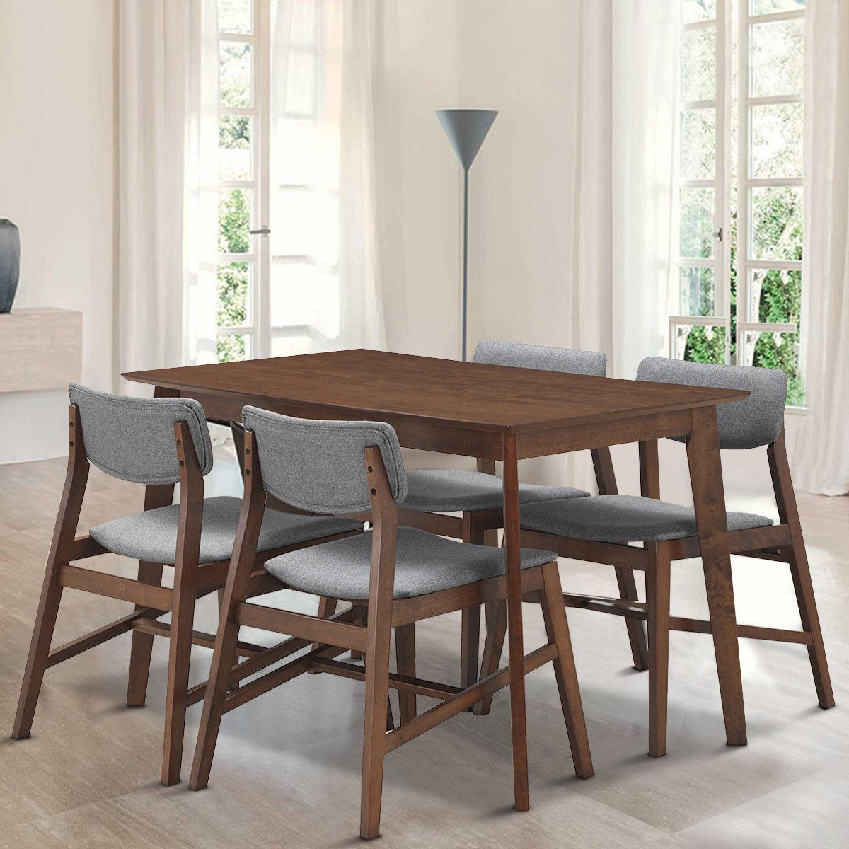 5 Mid Modern Dining Table Set Kitchen Upholstered Chairs