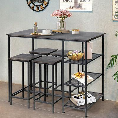 5 Pieces Counter Table Set Bar Table Set w/4