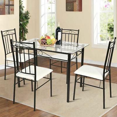 5 Piece Glass Table and 4 Chairs Kitchen Breakfast Furniture