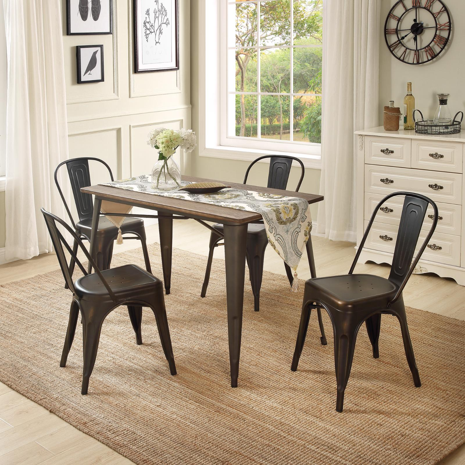 5 Piece Dining Set Table Chairs Bistro