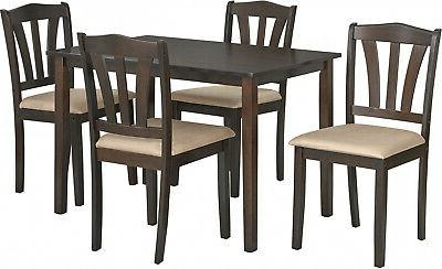 5 Dining Wood Breakfast 4 Chairs and Table Kitchen Dinette
