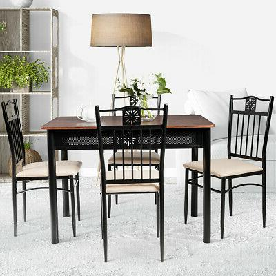 5 Dining Wood Table Chairs Breakfast Use