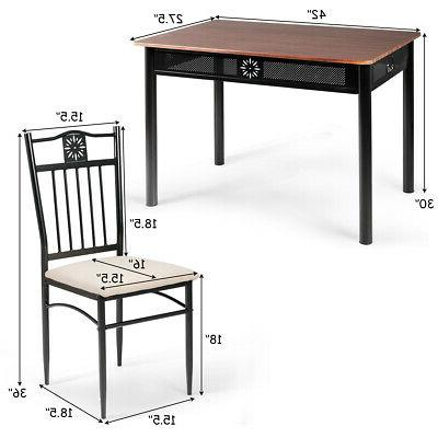 5 Wood Metal Table Chairs Kitchen Furniture Breakfast Use