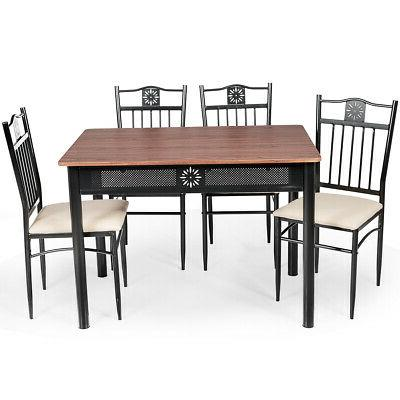 5 Piece Dining Wood Table Chairs Furniture Use