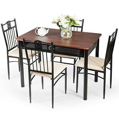 5 Wood Metal Chairs Kitchen Use