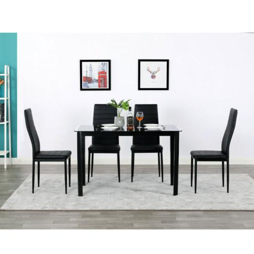 5 Piece Dining Table Set + 4 Chairs Glass Metal Kitchen Room