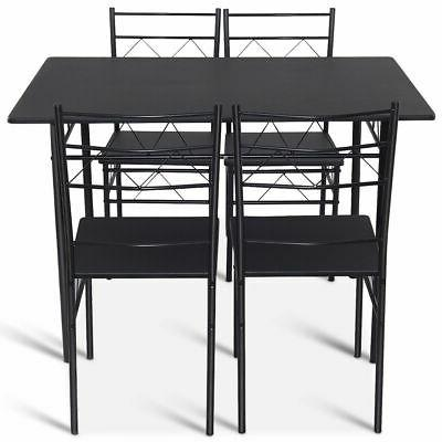 5 Set Chairs Wood Metal Kitchen Breakfast Furniture