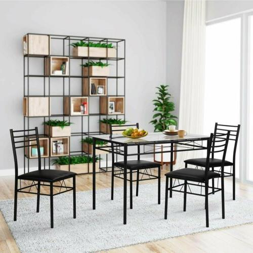NEW 5 Piece Dining Table Set For 4 Chairs Black Glass Metal
