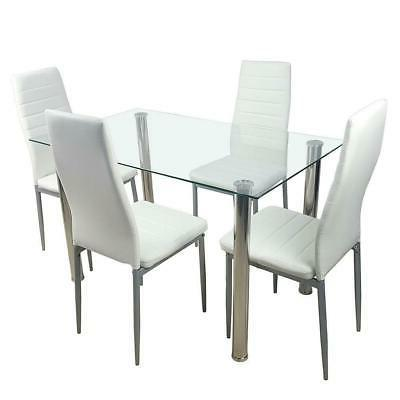 5 Piece Dining Table Set White 4 Glass Kitchen Dining Room
