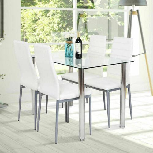 5 Piece Dining Table Set 4 Chairs White Glass Metal Kitchen